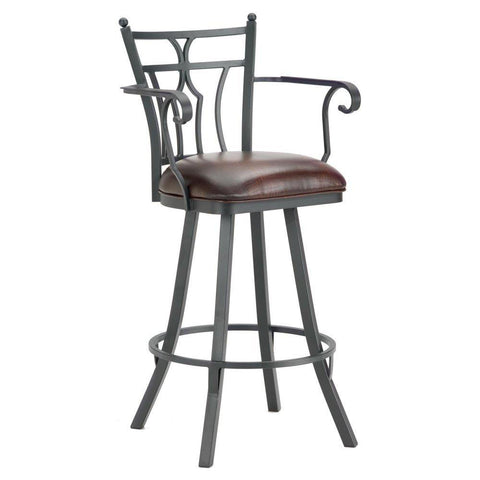 "Iron Mountain 3004130 Randle Swivel Bar Stool With Arms 30"" Seat Height w/ Alligator Brown Seat Fabric - Black Finish - BarstoolDirect.com"