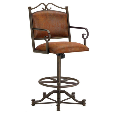 "Iron Mountain 3205326 Sherwood Tilt Swivel Counter Stool 26"" Seat Height w/ Mayflower Cocoa Fabric - Inca/Bronze - BarstoolDirect.com"