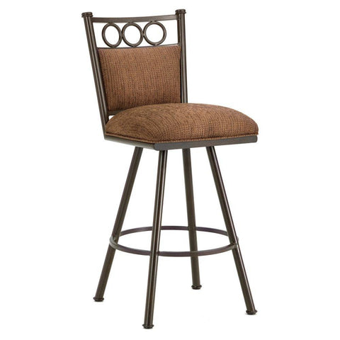 "Iron Mountain 3603430 Waterson Swivel Bar Stool 30"" Seat Height w/ Ford Brown Fabric - Rust - BarstoolDirect.com"