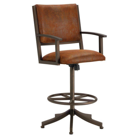 "Iron Mountain 4705326 Executive Tilt Swivel Counter Stool  26"" Seat Height w/ Mayflower Cocoa Fabric - Inca/Bronze - BarstoolDirect.com"