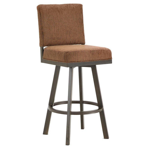 "Iron Mountain 4803630 Pasadena Swivel Upholstered Bar Stool 30"" Seat Height w/ Radar Nugget Fabric - Rust - BarstoolDirect.com"