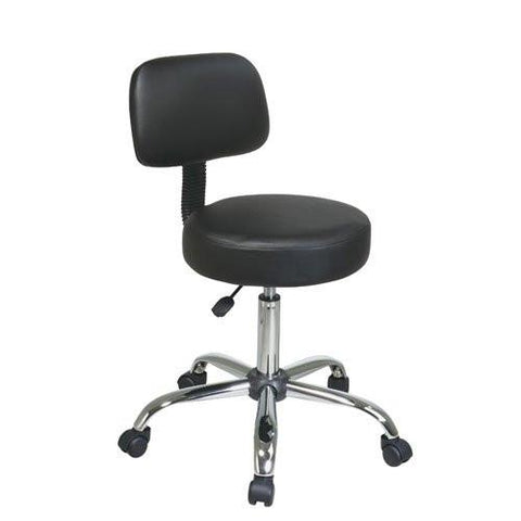 Office Star Work Smart ST235V-3 Pneumatic Drafting Chair with Black Vinyl Stool and Back. Heavy Duty Chrome Base with Dual Wheel Carpet Casters. - BarstoolDirect.com