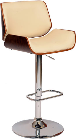 Armen Living LCLOSWBACRWA London Swivel Barstool In Cream PU/ Walnut Veneer and Chrome Base - BarstoolDirect.com