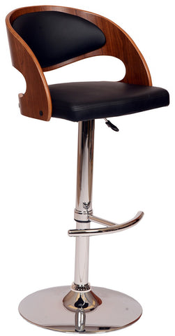 Armen Living LCMASWBABLWA Malibu Swivel Barstool In Black PU/ Walnut Veneer and Chrome Base - BarstoolDirect.com