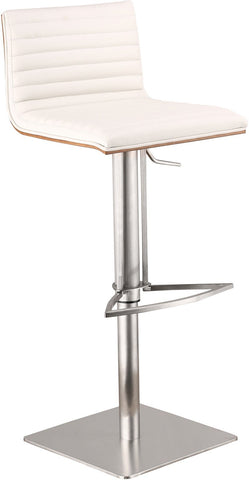 Armen Living LCCASWBAWHB201 CafŽ Adjustable Brushed Stainless Steel Barstool in White Pu with Walnut Back - BarstoolDirect.com