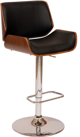 Armen Living LCLOSWBABLWA London Swivel Barstool In Black PU/ Walnut Veneer and Chrome Base - BarstoolDirect.com