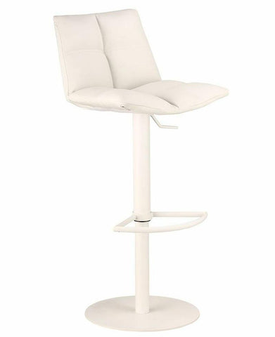Armen Living LCROSWBAWHBA Roma Adjustable White Metal Barstool in White Pu - BarstoolDirect.com