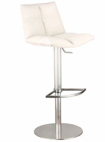 Armen Living LCROSWBAWHB201 Roma Adjustable Brushed Stainless Steel Barstool in White Pu - BarstoolDirect.com