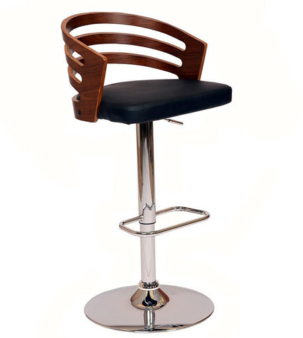 Armen Living LCADSWBABLWA Adele Swivel Barstool In Black PU/ Walnut Veneer and Chrome Base - BarstoolDirect.com