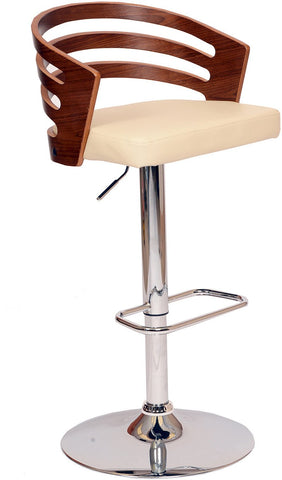 Armen Living LCADSWBACRWA Adele Swivel Barstool In Cream PU/ Walnut Veneer and Chrome Base - BarstoolDirect.com