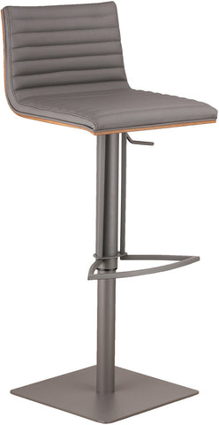 Armen Living LCCASWBAGRBA CafŽ Adjustable Gray Metal Barstool in Gray Pu with Walnut Back - BarstoolDirect.com