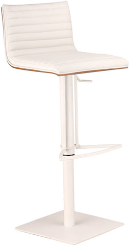 Armen Living LCCASWBAWHBA CafŽ Adjustable White Metal Barstool in White Pu with Walnut Back - BarstoolDirect.com