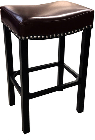 "Armen Living LCMBS013BAXX30 Tudor Backless 30"" Stationary Barstool In Antique Brown leather With Nailhead Accents Mbs-013 - BarstoolDirect.com"