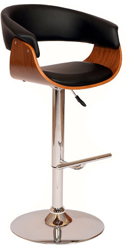 Armen Living LCPASWBABLWA Paris Swivel Barstool In Black PU/ Walnut Veneer and Chrome Base - BarstoolDirect.com