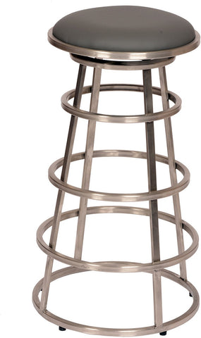 "Armen Living LCRISW26BAGRB201 Ringo 26"" Backless Brushed Stainless Steel Barstool in Gray Pu - BarstoolDirect.com"