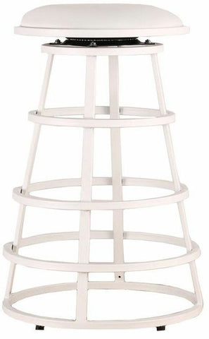 "Armen Living LCRISW30BAWHBA Ringo 30"" Backless White Metal Barstool in White Pu - BarstoolDirect.com"