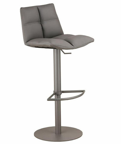 Armen Living LCROSWBAGRBA Roma Adjustable Gray Metal Barstool in Gray Pu - BarstoolDirect.com