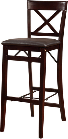 Linon 01851ESP01ASU Triena X Back Folding Bar Stool - BarstoolDirect.com
