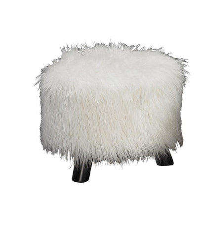 "Linon 40487WHT-01-AS-U Flokati foot stool (16"" Wide) - BarstoolDirect.com"