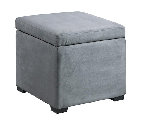 Linon 40520GRY-01-AS Judith Ottoman with Jewelry Storage - BarstoolDirect.com