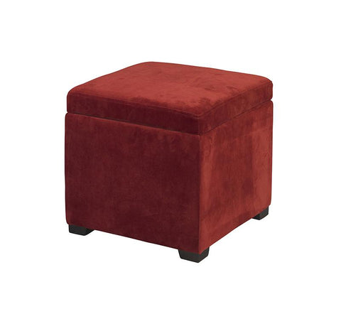 Linon 40520RED-01-AS JUDITH OTTOMAN WITH JEWELRY STORAGE - BarstoolDirect.com