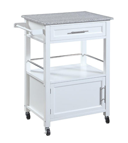 Linon 464808WHT01U Mitchell Kitchen Cart with Granite Top - BarstoolDirect.com