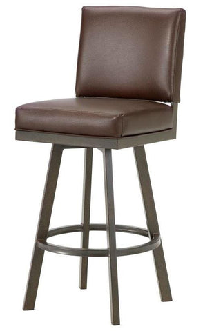 "Iron Mountain 4803430 Pasadena Swivel Upholstered Bar Stool 30"" Seat Height w/ Ford Brown Fabric - Rust - BarstoolDirect.com"
