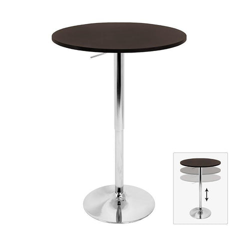 LumiSource BT-ADJ23TW BN Adjustable Bar Table - BarstoolDirect.com