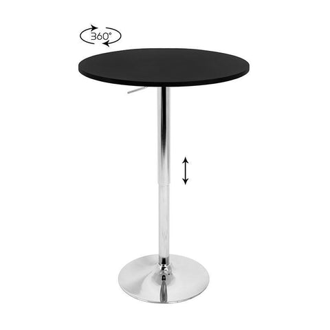 LumiSource BT-TLELIA27 BK Adjustable Bar Table - BarstoolDirect.com