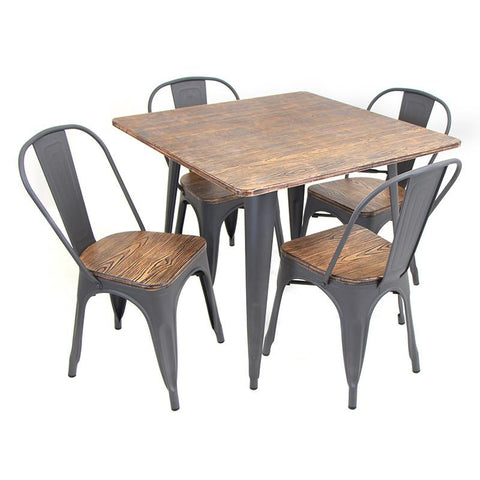 LumiSource DS-TW-OR SQ Oregon Dining Set - 5 Piece - Peazz.com