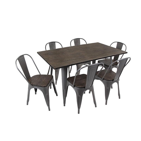 LumiSource DS-TW-OR6036 E7 Oregon Dining Set - 7 Piece - Peazz.com