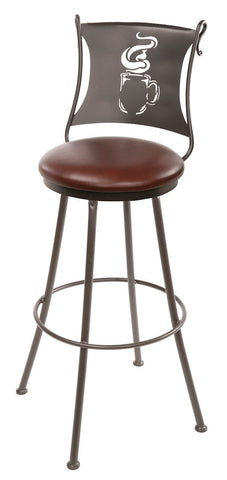 "Stone County Ironworks 902-755-LPC Coffee Cup Barstool 25"" (with swivel) - BarstoolDirect.com"