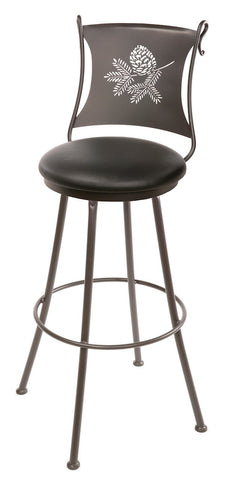 "Stone County Ironworks 902-763-LBK Pine Cone Barstool 25"" (with swivel) - BarstoolDirect.com"