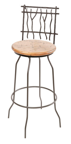 "Stone County Ironworks 902-775-DPN Sassafras Barstool 25"" (with swivel) - BarstoolDirect.com"