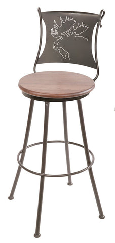 "Stone County Ironworks 904-001-OXB Bull Moose Barstool 25"" (with swivel) - BarstoolDirect.com"