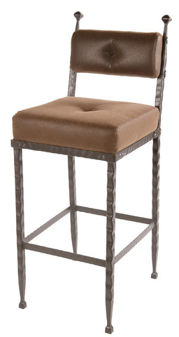 "Stone County Ironworks 904-200-FBR Forest Hill Barstool (padded back) 30"" - BarstoolDirect.com"