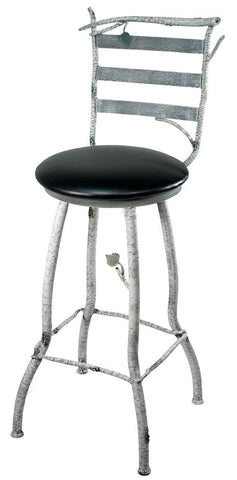"Stone County Ironworks 910-209-LBK Whisper Creek Bar Stool (ivory bark) w/ back, swivel, 25"" height - BarstoolDirect.com"