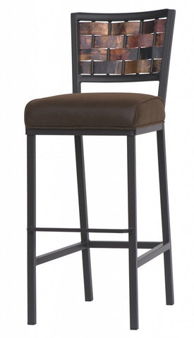 "Stone County Ironworks 910-213-COP-FDT Rushton Barstool 25"" COP w/ Distressed Brown - BarstoolDirect.com"