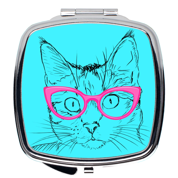 Pink Glasses Cat Compact Mirror | Meow Cat Imports