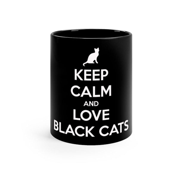 Keep Calm And Love Black Cats Mug (11 oz)-Meow Cat Imports