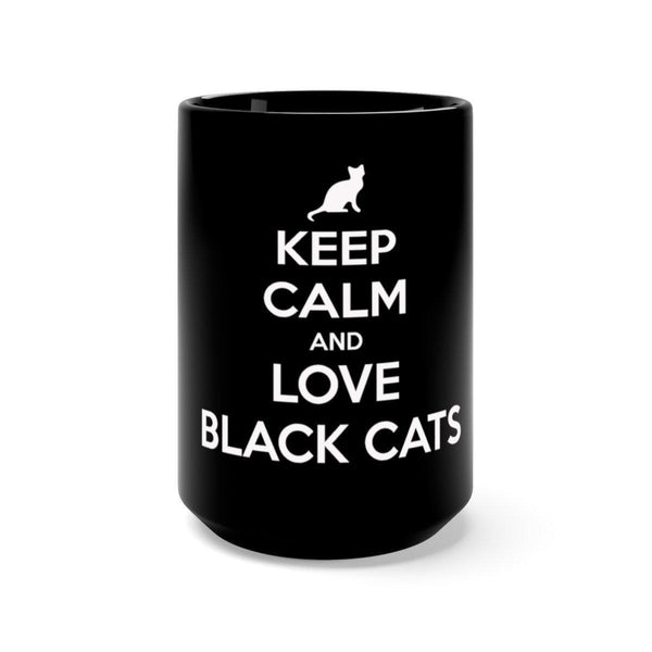 Keep Calm And Love Black Cats Mug (15 oz)-Meow Cat Imports