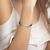 Meow Engraved Silver Bar String Bracelet
