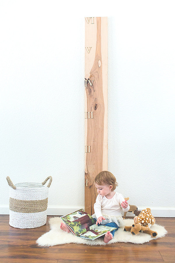 Wooden Growth Chart Ruler Board in Hickory Pecan