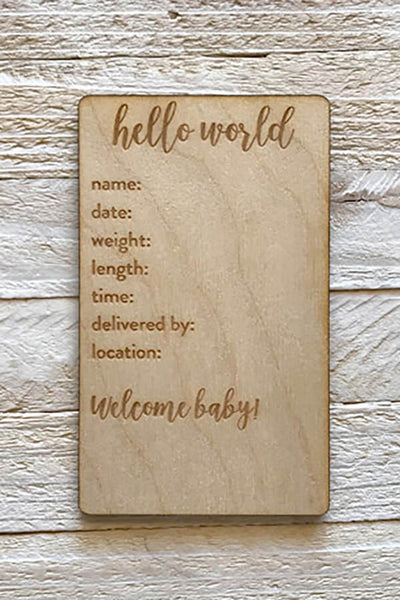 """Hello, World!"" Birth Details Plate"
