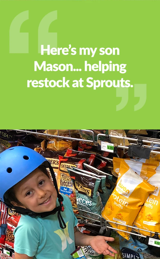 Here is my son Mason... helping restock at Sprouts