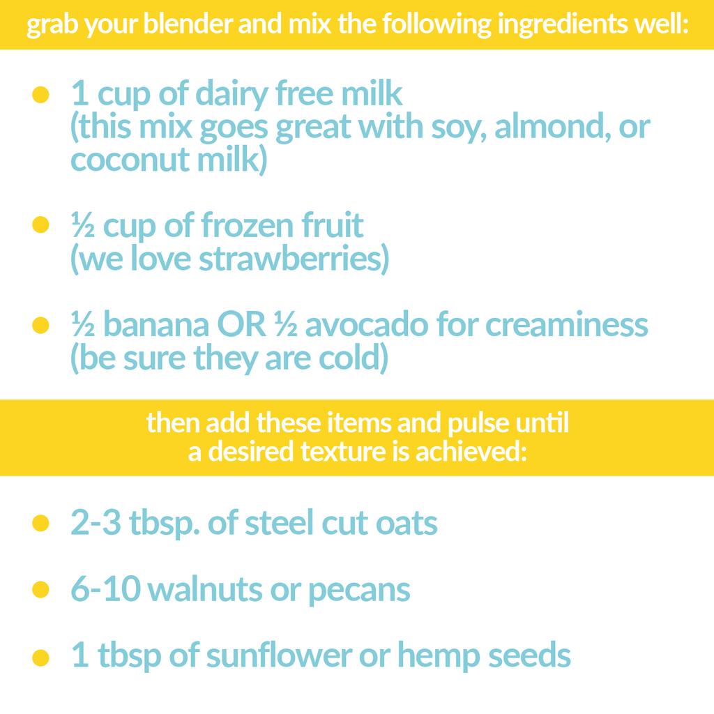 grab your blender and mix the following ingredients well: