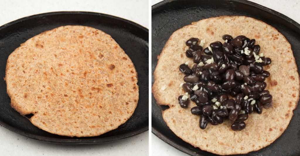 sprouted grain tortillas and black beans with fresh chopped garlic