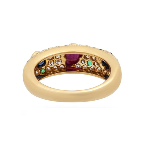 Cartier 18K Yellow Gold Diamond, Sapphire, Ruby and Emerald Cluster Ring Size: 6 alternate view