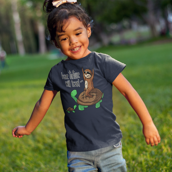Have Tortoise Will Travel - Sloth and Turtle - Short sleeve kids t-shirt - Sloth and Sloth [Product_type], Sloth and Sloth, Baby sloth, slothandsloth