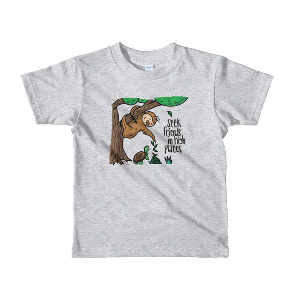 Seek Friends in High Places - Sloth and Turtle - Short sleeve kids t-shirt - Sloth and Sloth [Product_type], Sloth and Sloth, Baby sloth, slothandsloth